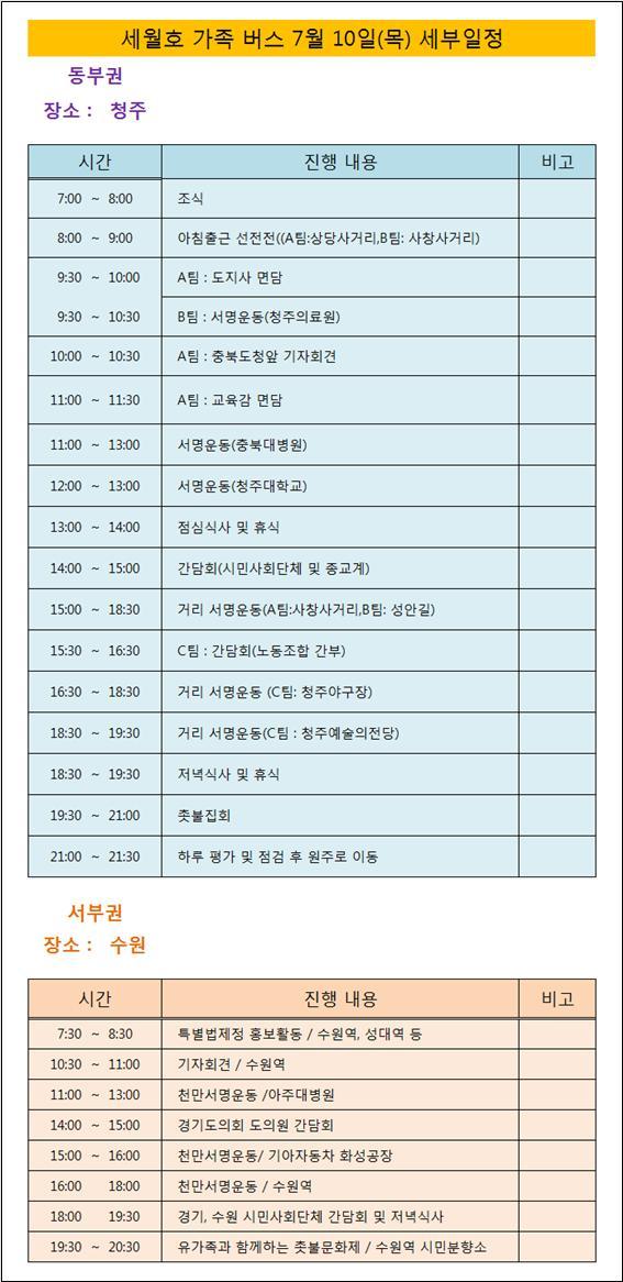 7/10 세월호 가족버스 세부일정